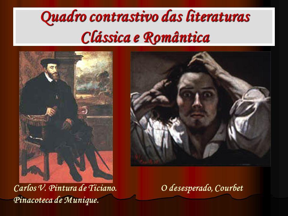 Quadro contrastivo das literaturas Clássica e Romântica Carlos V. Pintura de Ticiano. Pinacoteca de Munique. O desesperado, Courbet