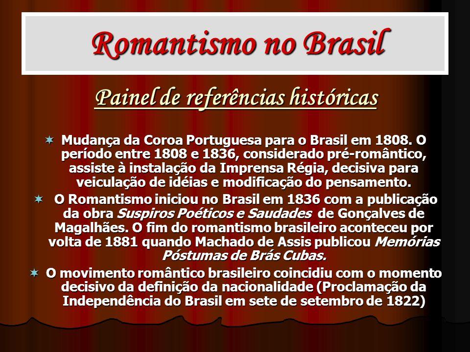 Painel de referências históricas Mudança da Coroa Portuguesa para o Brasil em 1808. O período entre 1808 e 1836, considerado pré-romântico, assiste à