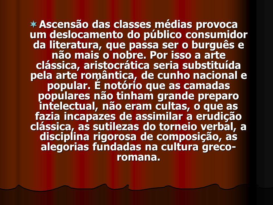 Ascensão das classes médias provoca um deslocamento do público consumidor da literatura, que passa ser o burguês e não mais o nobre. Por isso a arte c