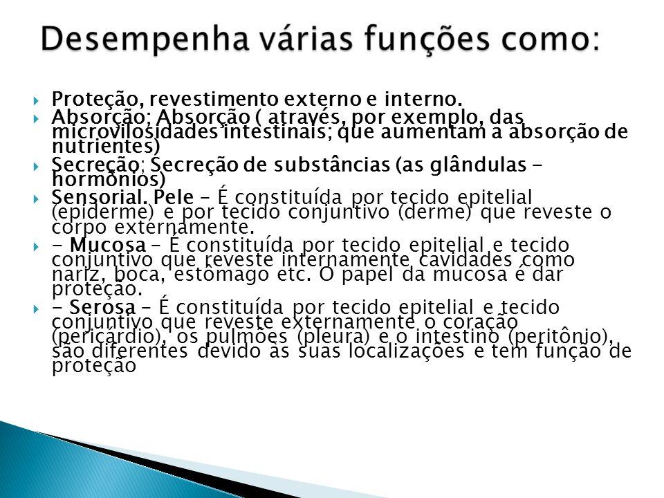 Especializações do tecido Epitelial Camada de queratina : impermeabilização (pele); Microvilosidade : absorção (intestino); Muco e cílios : retenção e eliminação de partículas estranhas (sistema respiratório).