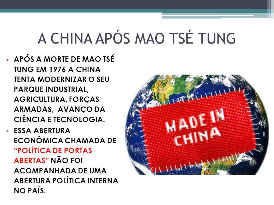 A CHINA APÓS MAO TSÉ TUNG APÓS A MORTE DE MAO TSÉ TUNG EM 1976 A CHINA TENTA MODERNIZAR O SEU PARQUE INDUSTRIAL, AGRICULTURA, FORÇAS ARMADAS, AVANÇO D