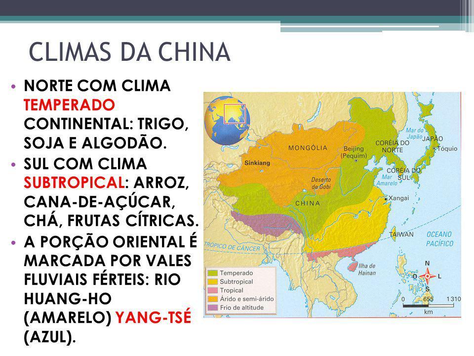 CLIMAS DA CHINA NORTE COM CLIMA TEMPERADO CONTINENTAL: TRIGO, SOJA E ALGODÃO. SUL COM CLIMA SUBTROPICAL: ARROZ, CANA-DE-AÇÚCAR, CHÁ, FRUTAS CÍTRICAS.