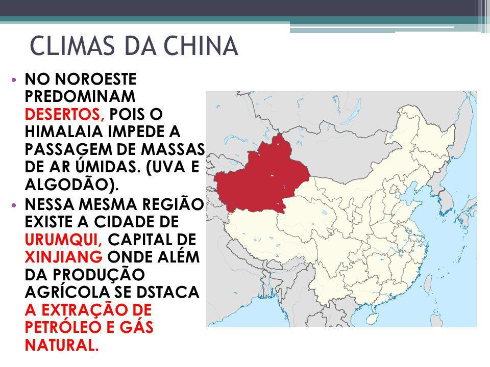 CLIMAS DA CHINA NO NOROESTE PREDOMINAM DESERTOS, POIS O HIMALAIA IMPEDE A PASSAGEM DE MASSAS DE AR ÚMIDAS. (UVA E ALGODÃO). NESSA MESMA REGIÃO EXISTE