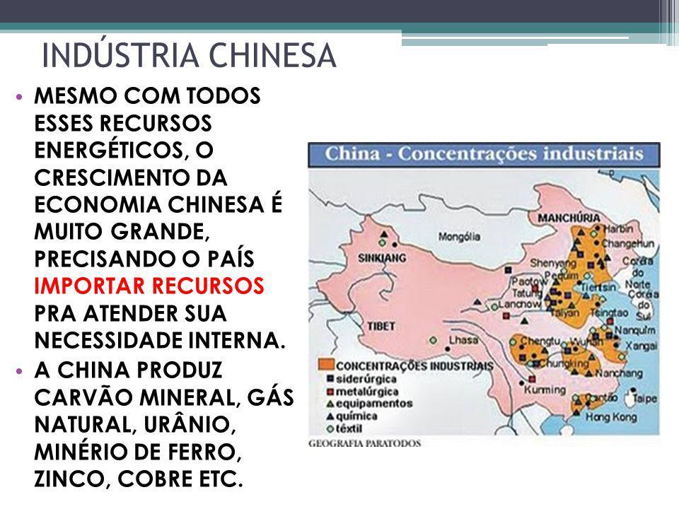 INDÚSTRIA CHINESA MESMO COM TODOS ESSES RECURSOS ENERGÉTICOS, O CRESCIMENTO DA ECONOMIA CHINESA É MUITO GRANDE, PRECISANDO O PAÍS IMPORTAR RECURSOS PR