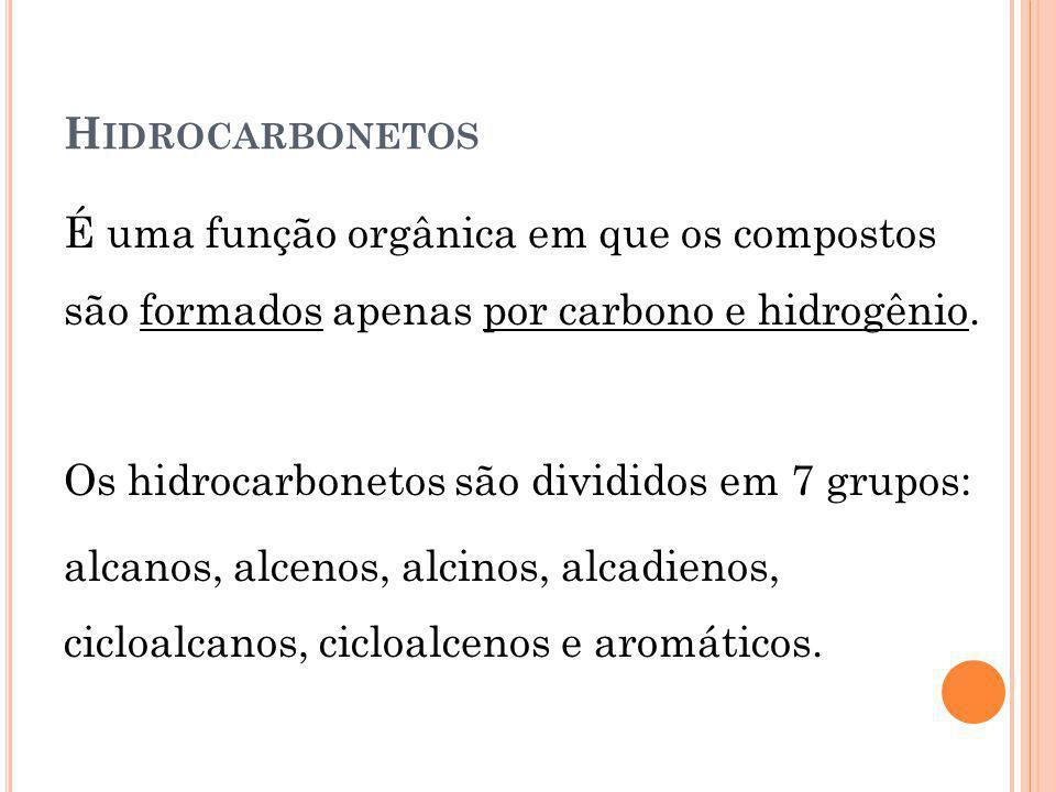 H IDROCARBONETOS É uma função orgânica em que os compostos são formados apenas por carbono e hidrogênio. Os hidrocarbonetos são divididos em 7 grupos: