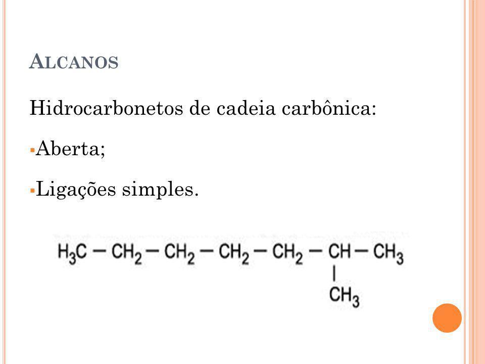 A LCANOS Hidrocarbonetos de cadeia carbônica: Aberta; Ligações simples.