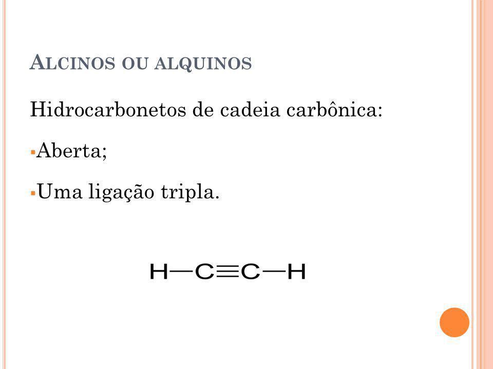 A LCINOS OU ALQUINOS Hidrocarbonetos de cadeia carbônica: Aberta; Uma ligação tripla.