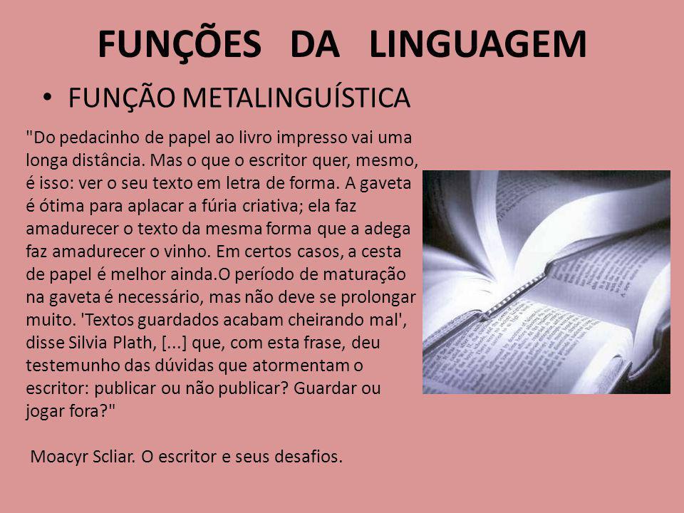 FUNÇÃO METALINGUÍSTICA FUNÇÕES DA LINGUAGEM