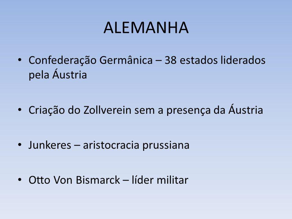 ALEMANHA Confederação Germânica – 38 estados liderados pela Áustria Criação do Zollverein sem a presença da Áustria Junkeres – aristocracia prussiana Otto Von Bismarck – líder militar