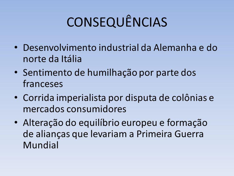 CONSEQUÊNCIAS Desenvolvimento industrial da Alemanha e do norte da Itália Sentimento de humilhação por parte dos franceses Corrida imperialista por di