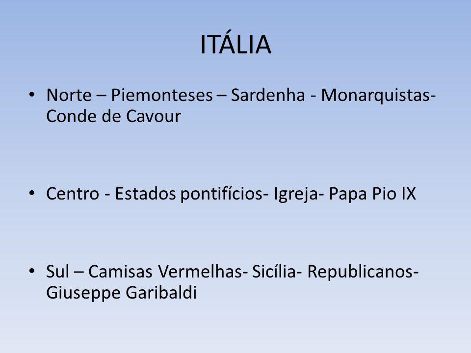 ITÁLIA Norte – Piemonteses – Sardenha - Monarquistas- Conde de Cavour Centro - Estados pontifícios- Igreja- Papa Pio IX Sul – Camisas Vermelhas- Sicília- Republicanos- Giuseppe Garibaldi