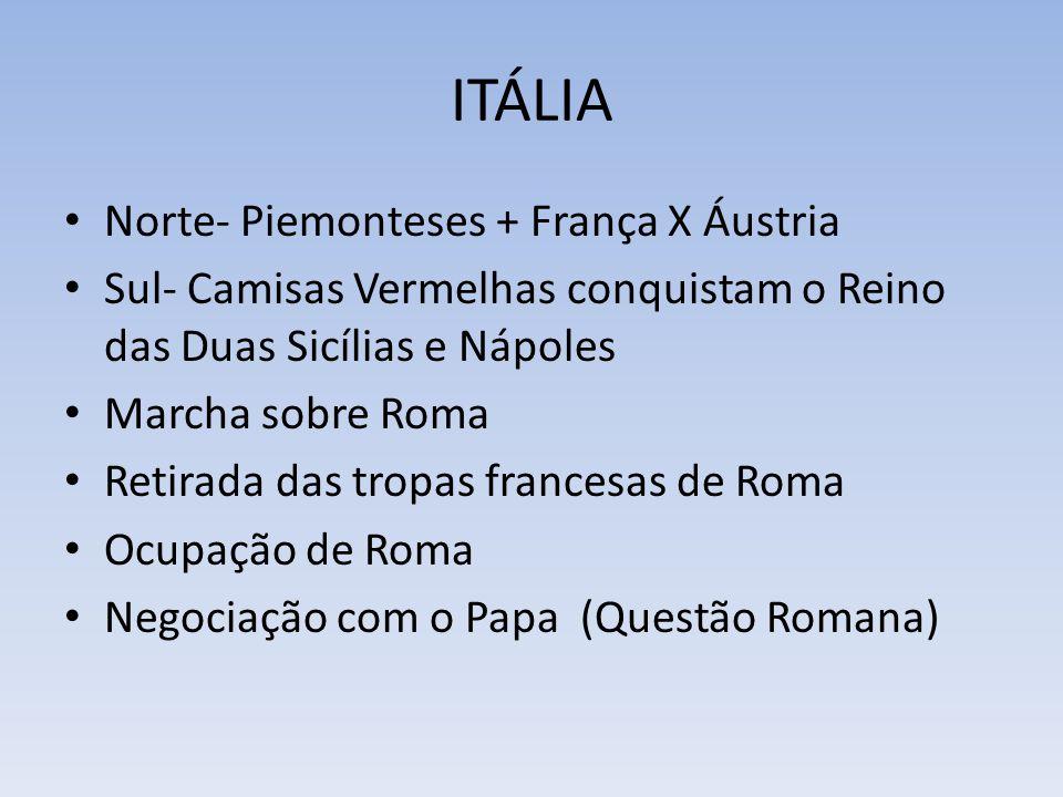 ITÁLIA Norte- Piemonteses + França X Áustria Sul- Camisas Vermelhas conquistam o Reino das Duas Sicílias e Nápoles Marcha sobre Roma Retirada das tropas francesas de Roma Ocupação de Roma Negociação com o Papa (Questão Romana)