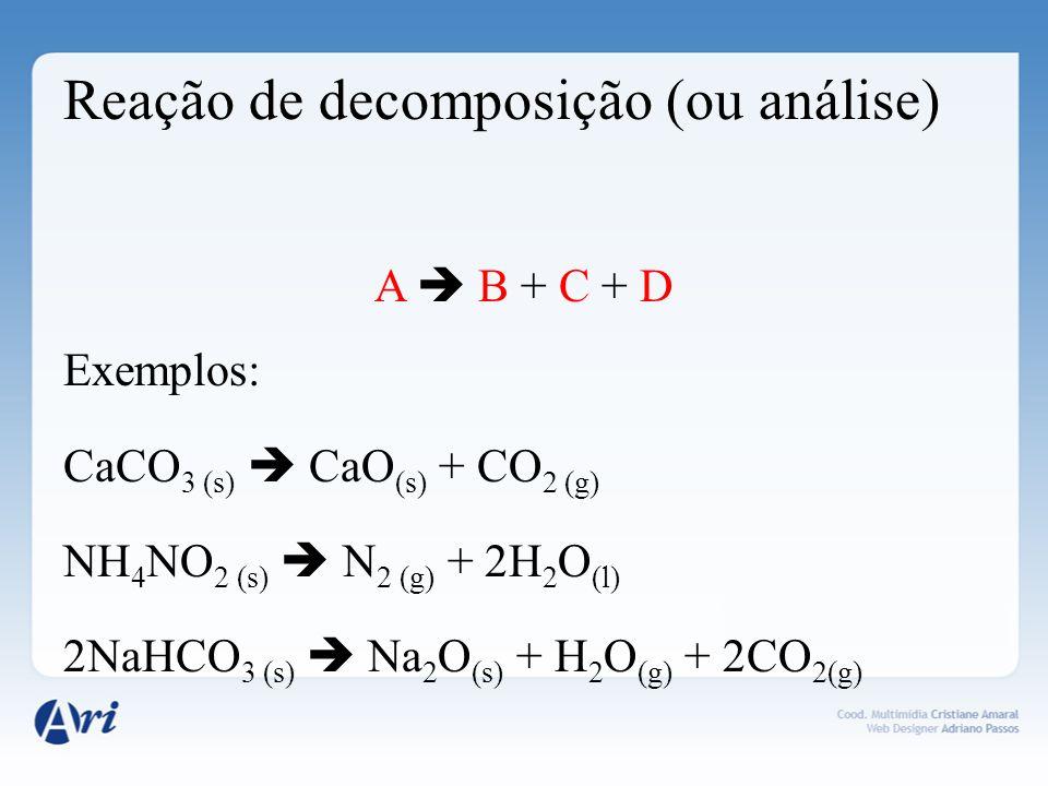 Reação de simples-troca (ou deslocamento) A + BC AC + B Exemplos: 2Fe (s) + 6HC l (aq) 2FeC l 3(s) + 3H 2(g) Zn (s) + CuSO 4(aq) ZnSO 4(aq) + Cu (s) F 2(aq) + CaBr 2(aq) CaF 2(s) + Br 2(l)