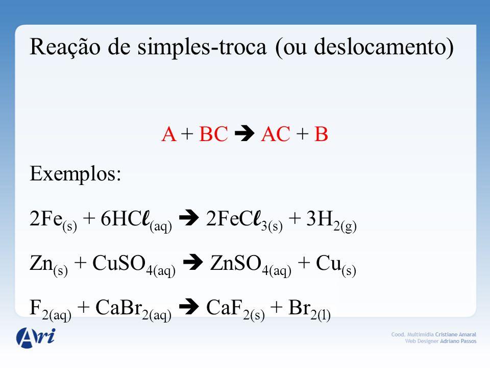 Reação de dupla-troca AB + CD AD + CB Exemplos: HC l (aq) + NaOH (aq) NaC l (aq) + H 2 O (aq) NaF (aq) + HC l (aq) NaC l (aq) + HF (aq) BaC l 2(aq) + H 2 SO 4 (aq) BaSO 4(aq) + 2HC l (aq)