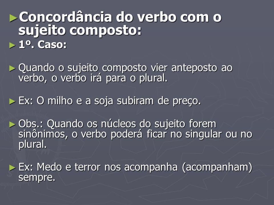 Concordância do verbo com o sujeito composto: Concordância do verbo com o sujeito composto: 1º. Caso: 1º. Caso: Quando o sujeito composto vier antepos