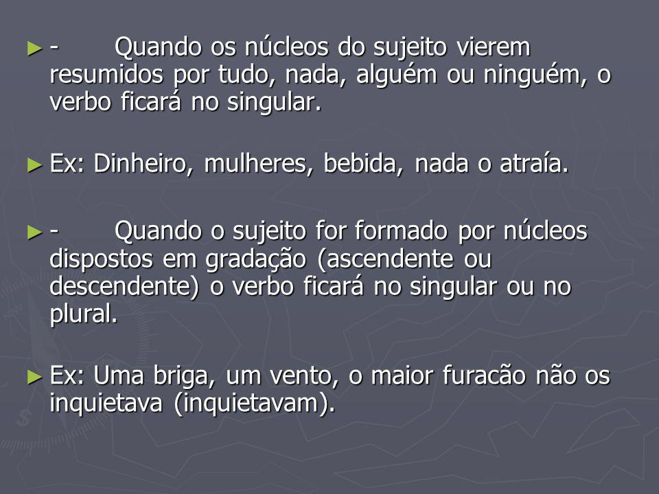8º.Caso: 8º. Caso: Os verbos impessoais ficam sempre na 3º pessoa do singular.