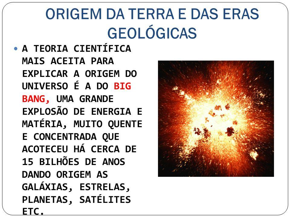 ORIGEM DA TERRA E DAS ERAS GEOLÓGICAS A TEORIA CIENTÍFICA MAIS ACEITA PARA EXPLICAR A ORIGEM DO UNIVERSO É A DO BIG BANG, UMA GRANDE EXPLOSÃO DE ENERG