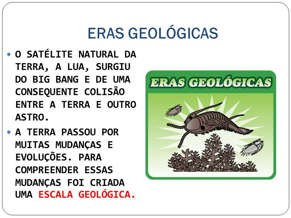 ERAS GEOLÓGICAS O SATÉLITE NATURAL DA TERRA, A LUA, SURGIU DO BIG BANG E DE UMA CONSEQUENTE COLISÃO ENTRE A TERRA E OUTRO ASTRO. A TERRA PASSOU POR MU