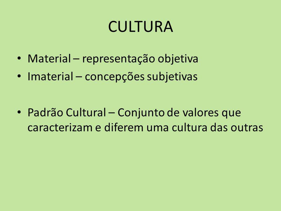 CULTURA Material – representação objetiva Imaterial – concepções subjetivas Padrão Cultural – Conjunto de valores que caracterizam e diferem uma cultu