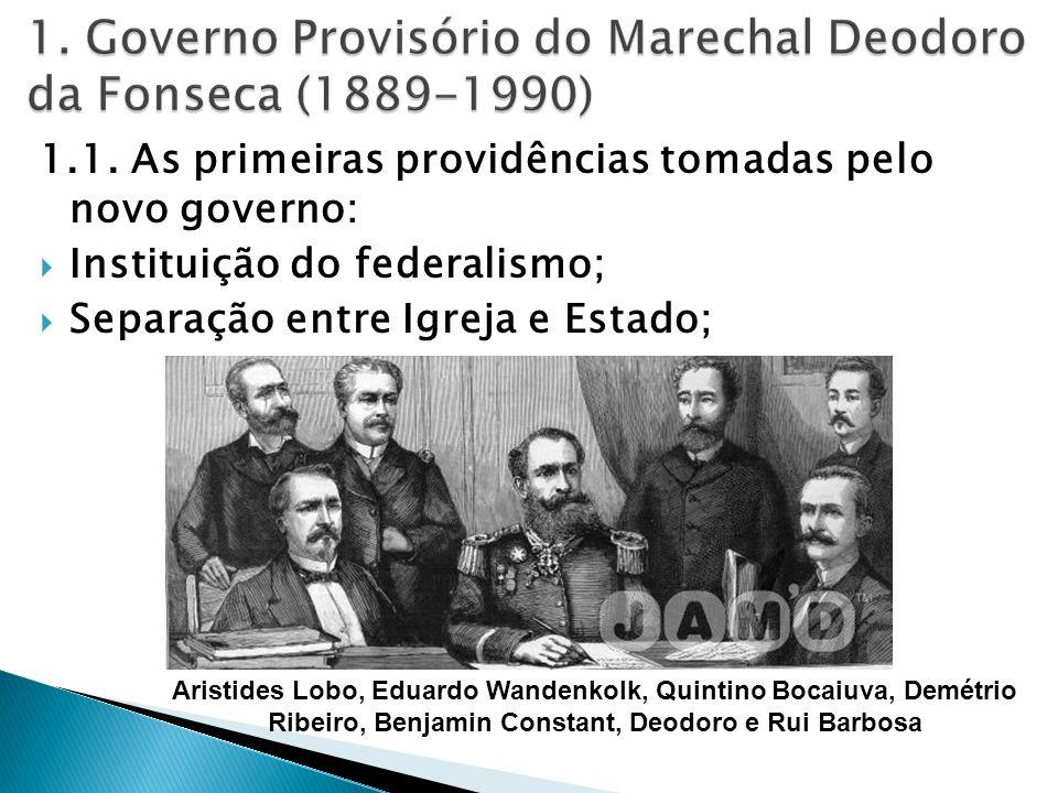 1.1. As primeiras providências tomadas pelo novo governo: Instituição do federalismo; Separação entre Igreja e Estado; Aristides Lobo, Eduardo Wandenk
