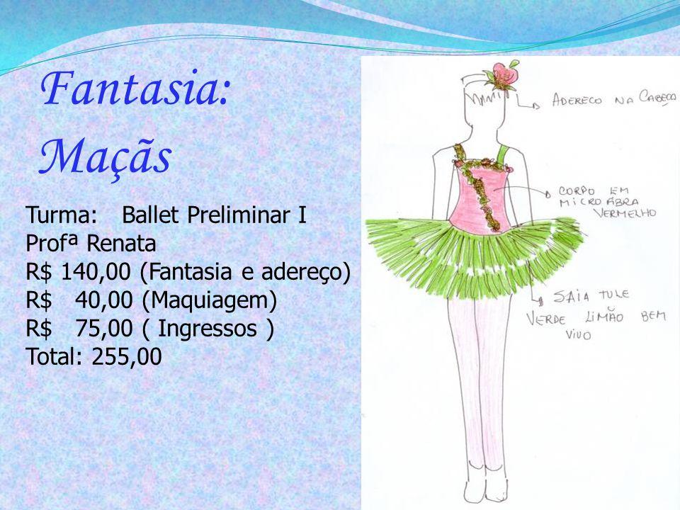 Turma: Ballet Preliminar I Profª Renata R$ 140,00 (Fantasia e adereço) R$ 40,00 (Maquiagem) R$ 75,00 ( Ingressos ) Total: 255,00 Fantasia: Maçãs
