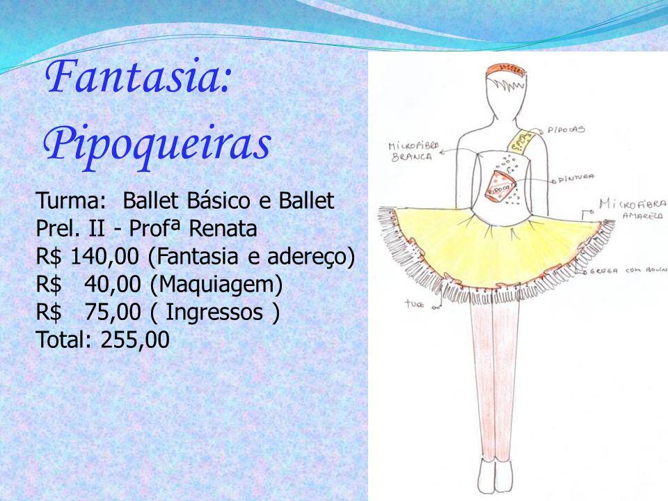 Turma: Ballet Básico e Ballet Prel. II - Profª Renata R$ 140,00 (Fantasia e adereço) R$ 40,00 (Maquiagem) R$ 75,00 ( Ingressos ) Total: 255,00 Fantasi