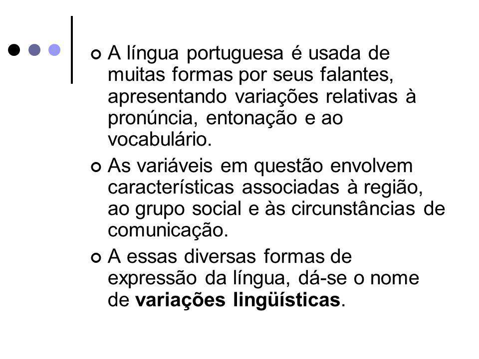 A língua portuguesa é usada de muitas formas por seus falantes, apresentando variações relativas à pronúncia, entonação e ao vocabulário. As variáveis