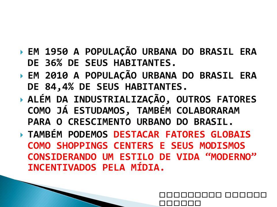 EM 1950 A POPULAÇÃO URBANA DO BRASIL ERA DE 36% DE SEUS HABITANTES. EM 2010 A POPULAÇÃO URBANA DO BRASIL ERA DE 84,4% DE SEUS HABITANTES. ALÉM DA INDU