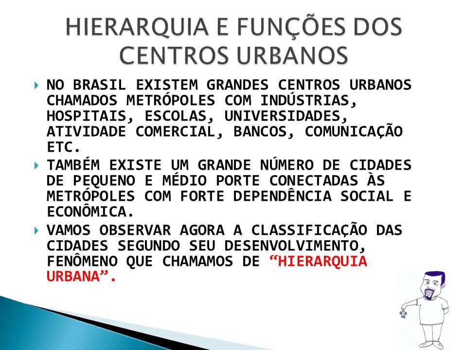NO BRASIL EXISTEM GRANDES CENTROS URBANOS CHAMADOS METRÓPOLES COM INDÚSTRIAS, HOSPITAIS, ESCOLAS, UNIVERSIDADES, ATIVIDADE COMERCIAL, BANCOS, COMUNICA