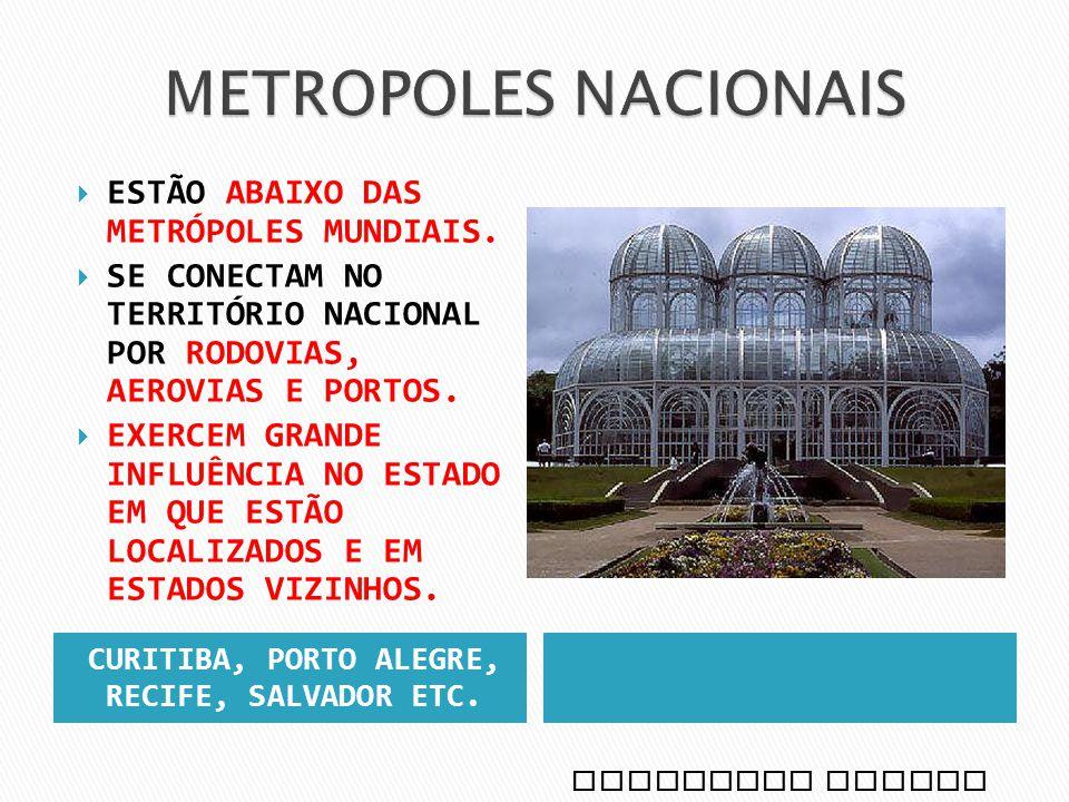 METRÓPOLES REGIONAIS: ESTÃO ABAIXO DAS METRÓPOLES NACIONAIS.