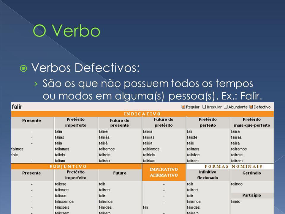 Verbos Defectivos: São os que não possuem todos os tempos ou modos em alguma(s) pessoa(s). Ex.: Falir.