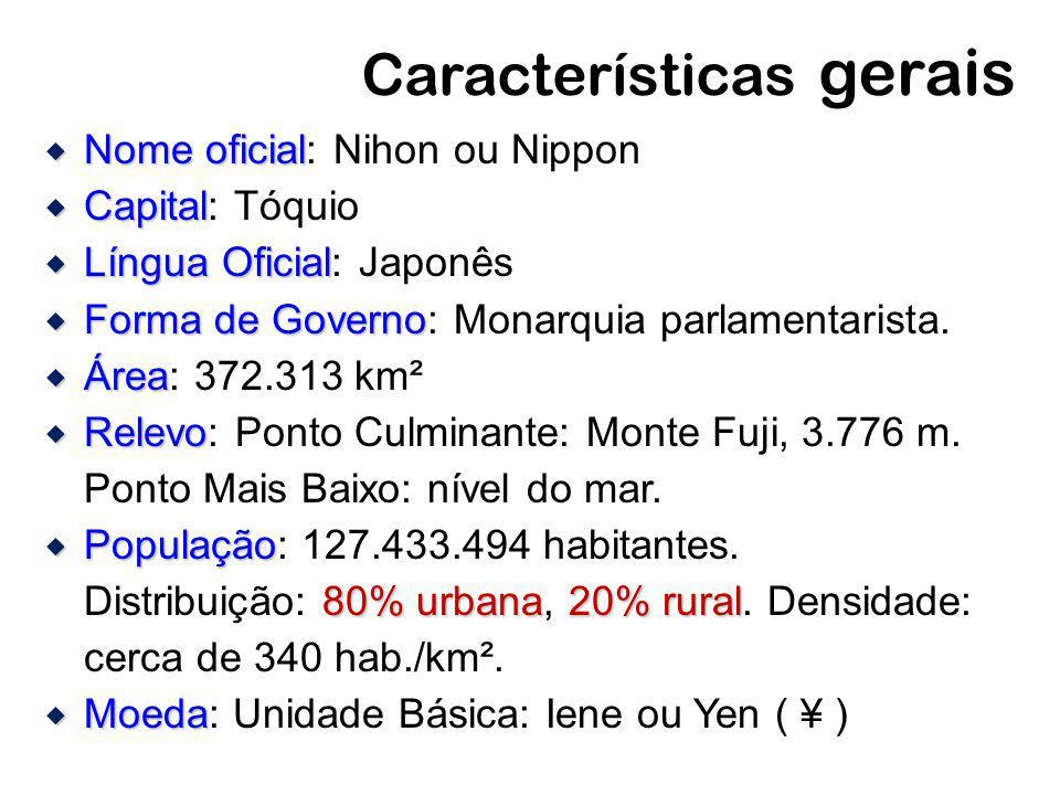 Características gerais Nome oficial Nome oficial: Nihon ou Nippon Capital Capital: Tóquio Língua Oficial Língua Oficial: Japonês Forma de Governo Form