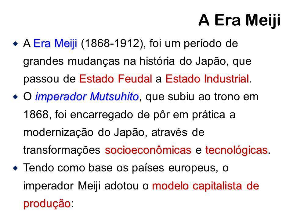 A Era Meiji Era Meiji Estado Feudal Estado Industrial A Era Meiji (1868-1912), foi um período de grandes mudanças na história do Japão, que passou de