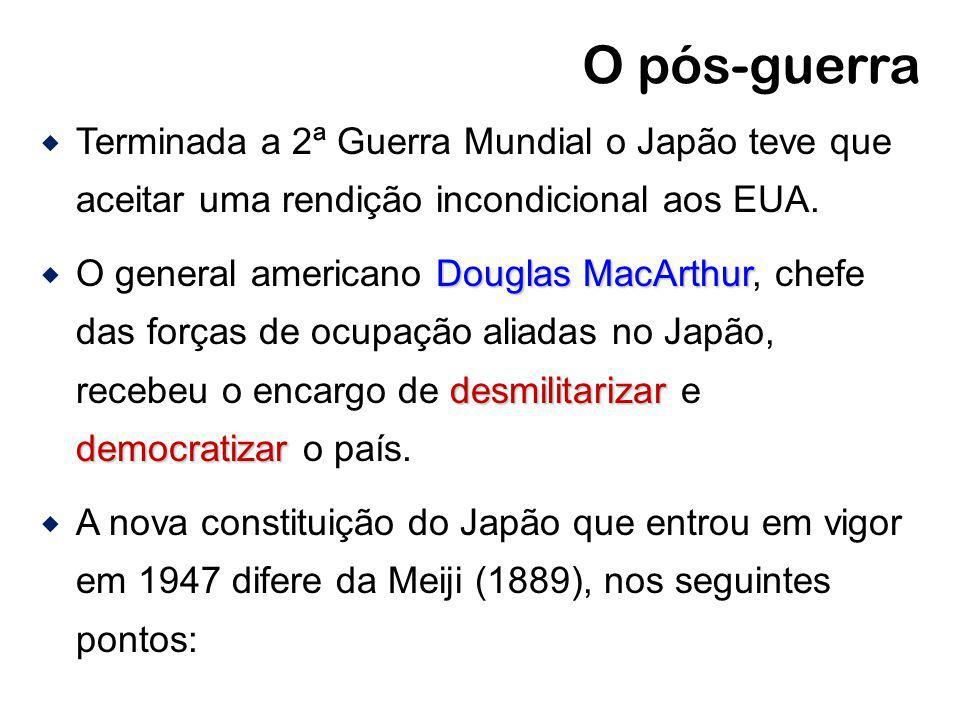 O pós-guerra Terminada a 2ª Guerra Mundial o Japão teve que aceitar uma rendição incondicional aos EUA. Douglas MacArthur desmilitarizar democratizar