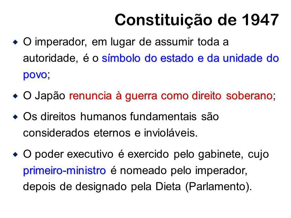Constituição de 1947 símbolo do estado e da unidade do povo O imperador, em lugar de assumir toda a autoridade, é o símbolo do estado e da unidade do