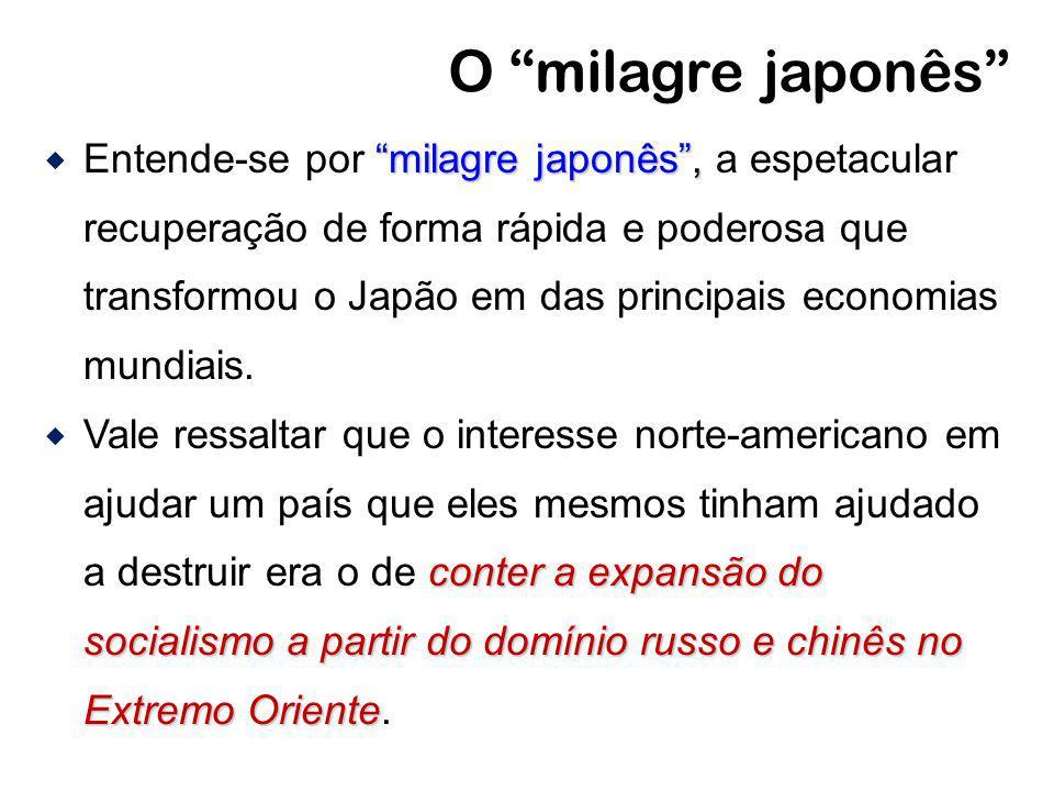 O milagre japonês milagre japonês, Entende-se por milagre japonês, a espetacular recuperação de forma rápida e poderosa que transformou o Japão em das