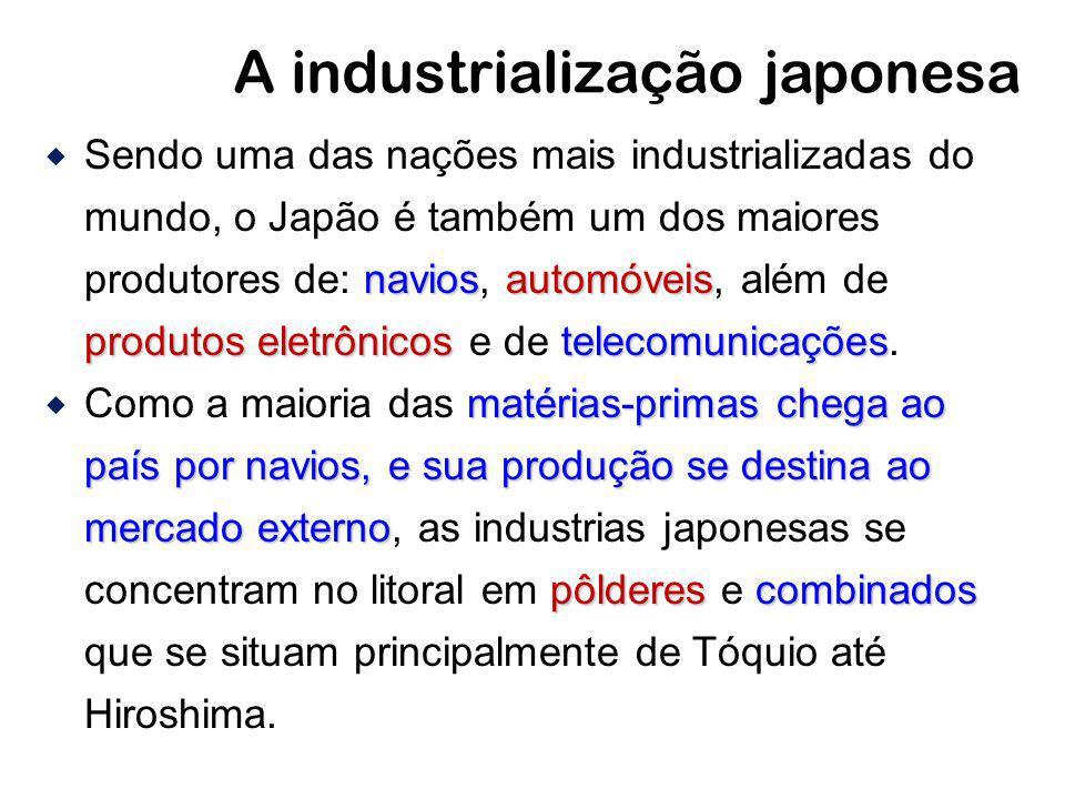 A industrialização japonesa naviosautomóveis produtos eletrônicos telecomunicações Sendo uma das nações mais industrializadas do mundo, o Japão é tamb