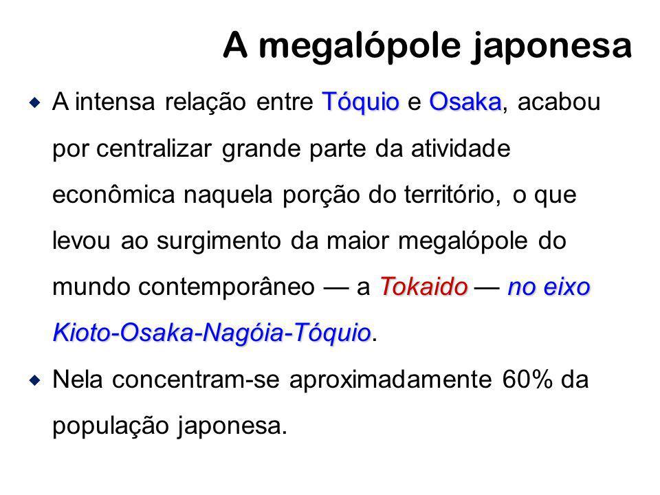 A megalópole japonesa TóquioOsaka Tokaidono eixo Kioto-Osaka-Nagóia-Tóquio A intensa relação entre Tóquio e Osaka, acabou por centralizar grande parte