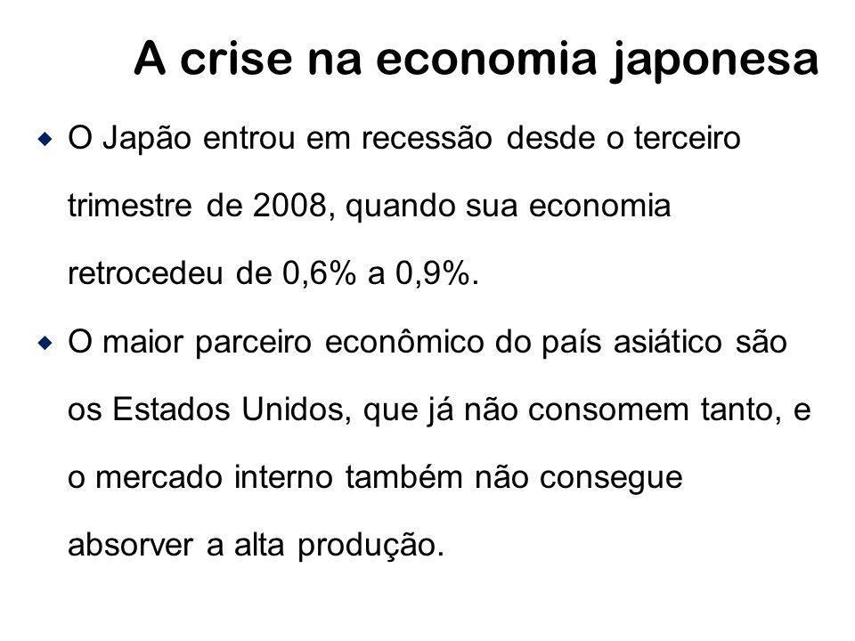 A crise na economia japonesa O Japão entrou em recessão desde o terceiro trimestre de 2008, quando sua economia retrocedeu de 0,6% a 0,9%. O maior par