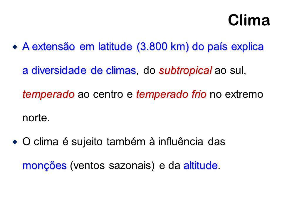 Clima A extensão em latitude (3.800 km) do país explica a diversidade de climassubtropical temperadotemperado frio A extensão em latitude (3.800 km) d