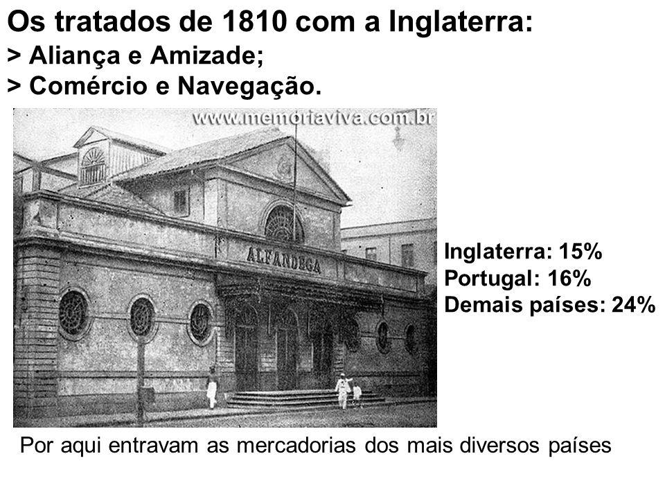 Os tratados de 1810 com a Inglaterra: > Aliança e Amizade; > Comércio e Navegação. Inglaterra: 15% Portugal: 16% Demais países: 24% Por aqui entravam