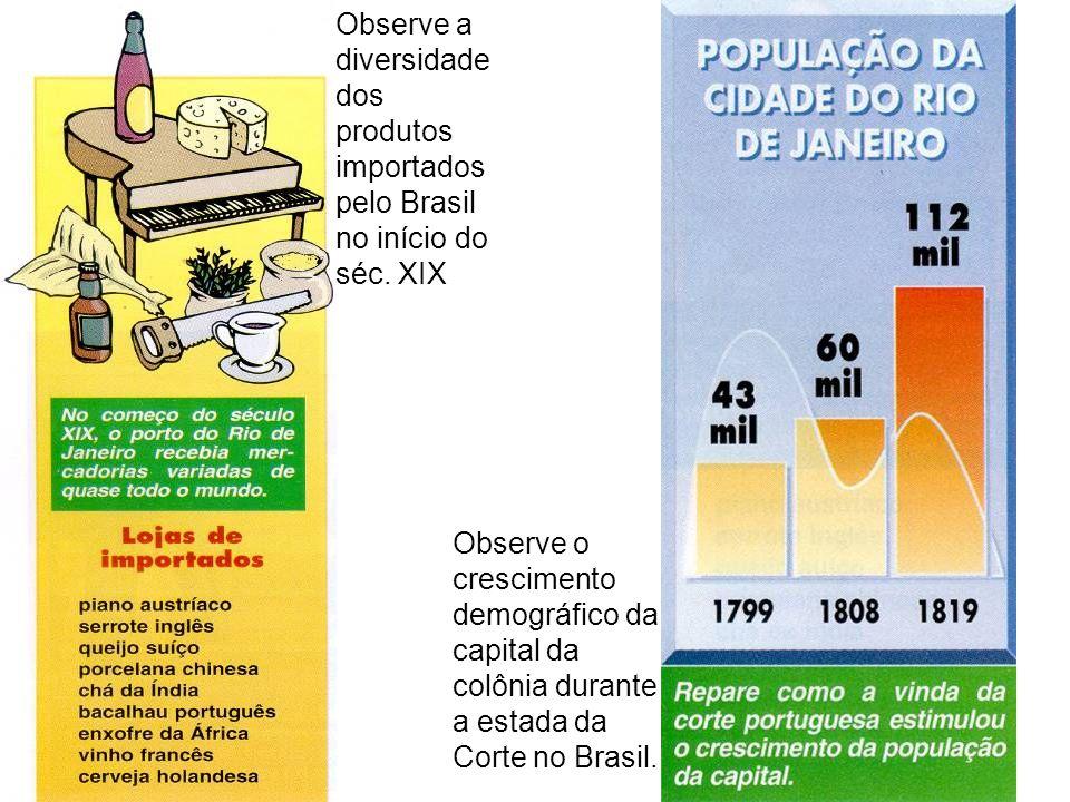 Observe a diversidade dos produtos importados pelo Brasil no início do séc. XIX Observe o crescimento demográfico da capital da colônia durante a esta
