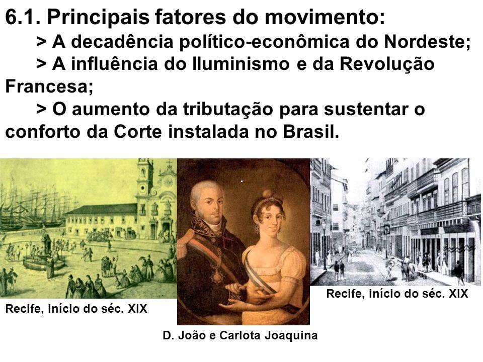 6.1. Principais fatores do movimento: > A decadência político-econômica do Nordeste; > A influência do Iluminismo e da Revolução Francesa; > O aumento