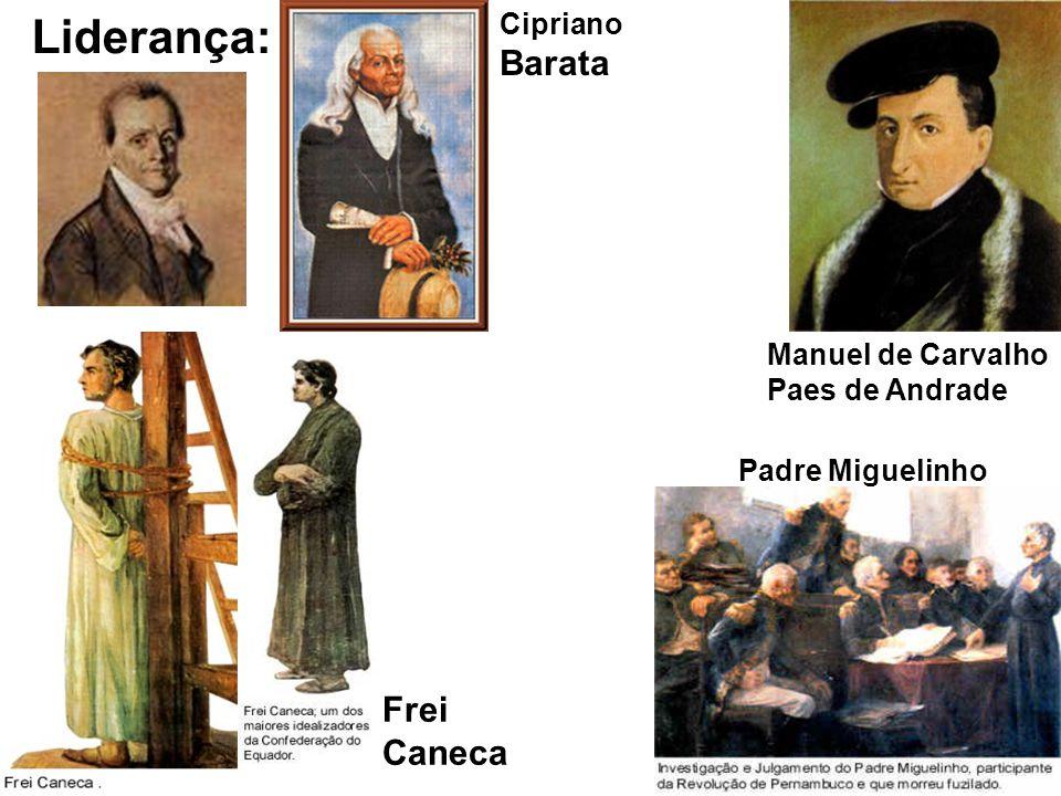 Liderança: Cipriano Barata Manuel de Carvalho Paes de Andrade Frei Caneca Padre Miguelinho