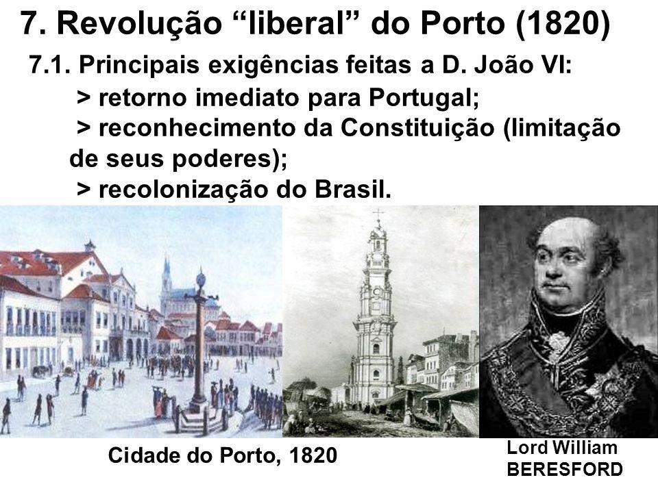 7. Revolução liberal do Porto (1820) 7.1. Principais exigências feitas a D. João VI: > retorno imediato para Portugal; > reconhecimento da Constituiçã
