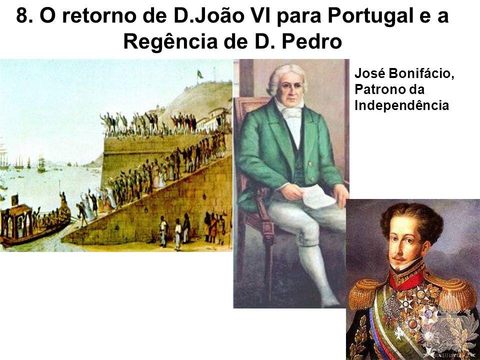 8. O retorno de D.João VI para Portugal e a Regência de D. Pedro José Bonifácio, Patrono da Independência