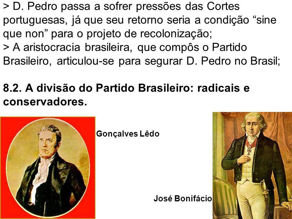 > D. Pedro passa a sofrer pressões das Cortes portuguesas, já que seu retorno seria a condição sine que non para o projeto de recolonização; > A arist