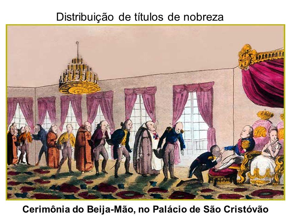 Cerimônia do Beija-Mão, no Palácio de São Cristóvão Distribuição de títulos de nobreza