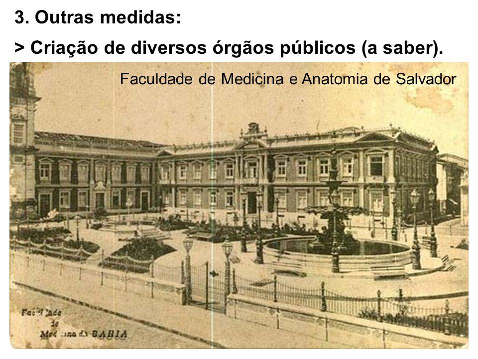 3. Outras medidas: > Criação de diversos órgãos públicos (a saber). Faculdade de Medicina e Anatomia de Salvador