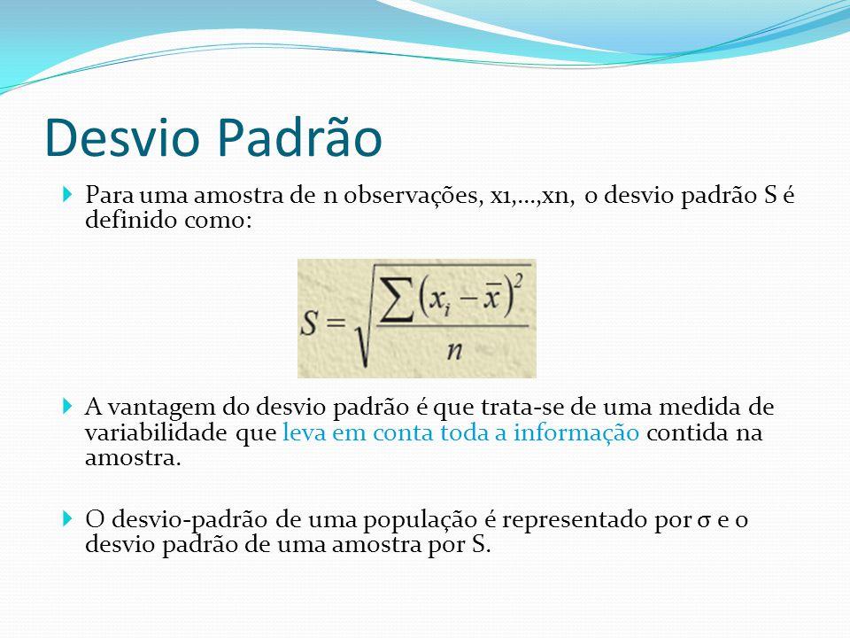 Desvio Padrão Para uma amostra de n observações, x1,...,xn, o desvio padrão S é definido como: A vantagem do desvio padrão é que trata-se de uma medid